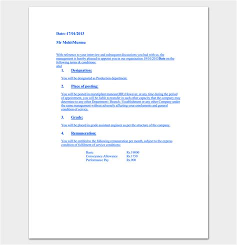 appointment letter sle software engineer appointment letter format software engineer 28 images