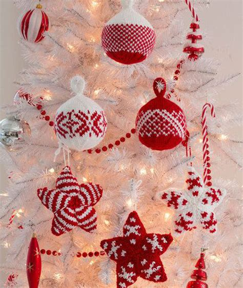 cute red white hand knitted tree ornaments pictures