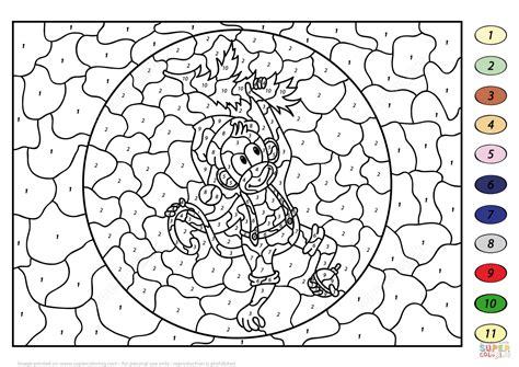 cute number coloring pages christmas monkey color by number free printable coloring