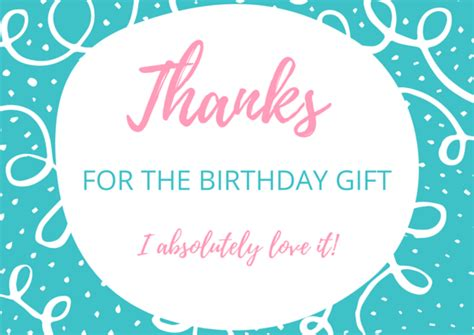Thank You Card For Birthday Gift - free birthday thank you card printables