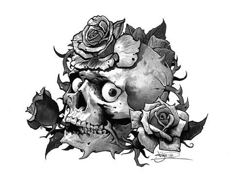 tattoo flash art skulls tattoo flash skull and roses by tikos on deviantart