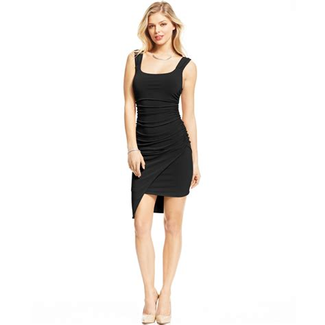 Guess Dress Spandek guess ruched asymmetrical dress in black lyst
