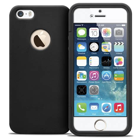 coque antichoc 360 ultimate touch gel apple iphone 5 5s se noir
