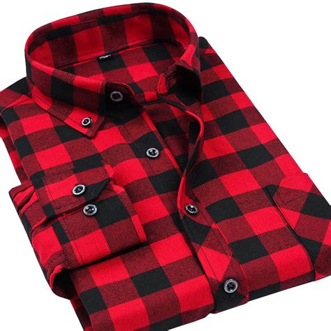 difference between flannel and plaid vfan flannel men plaid shirts 2016 new autumn luxury slim