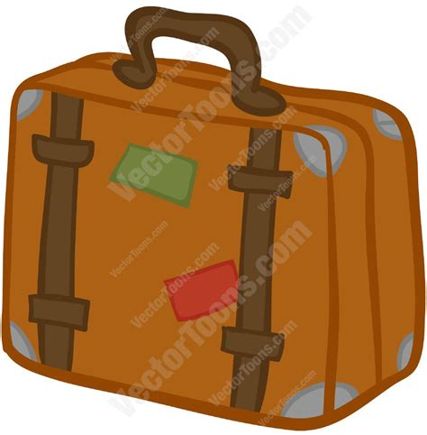 brown suitcase with stickers on it cartoon clipart