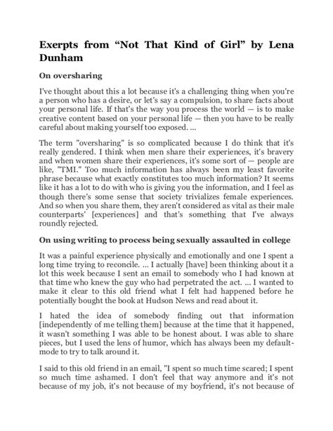 lena dunham powerpoint excerpts from not that kind of girl by lena dunham
