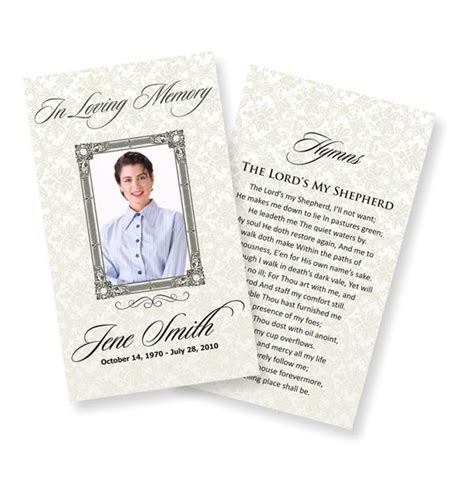memory card funeral template funeral prayer cards exles temporarily urgent