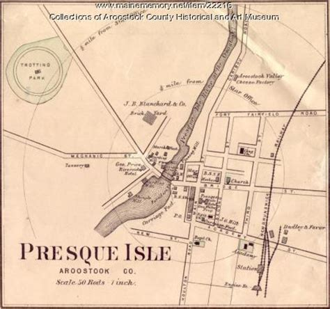 map of the valley isle 9th edition reference maine memory network map of presque isle ca 1870