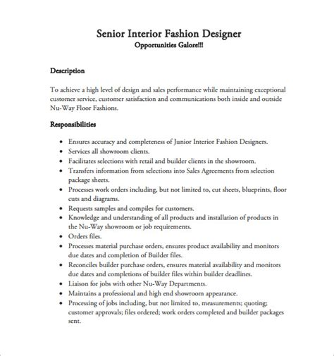 Fashion Design Resume by Fashion Designer Resume Template 9 Free Word Excel