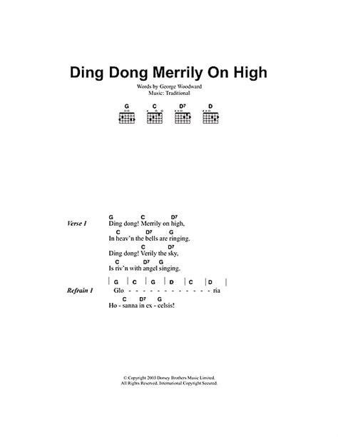 printable lyrics for ding dong merrily on high ding dong merrily on high sheet music by christmas carol