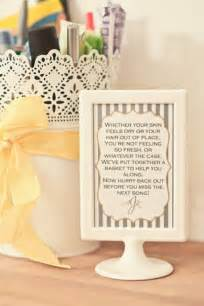wedding bathroom basket ideas 5 wedding bathroom ideas free printable emmaline
