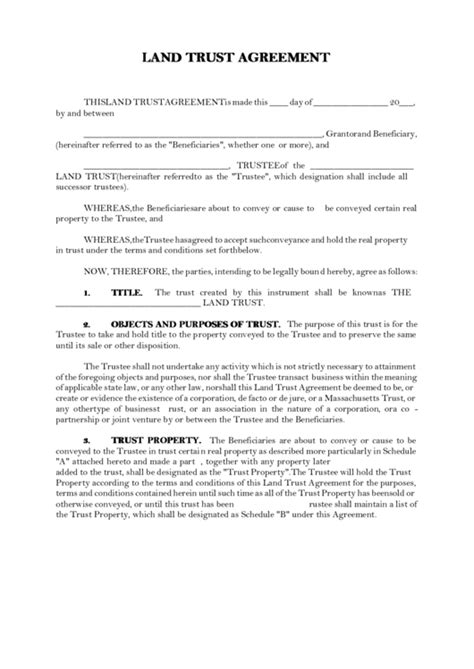 Land Trust Agreement Template Printable Pdf Download Land Trust Agreement Template