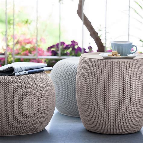 Curver Knit by Curver Cloudy Grey Knit Storage Table The Container Store