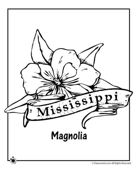 state flower coloring pages mississippi state flower