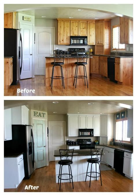 painting kitchen cabinets before after white painted kitchen cabinet reveal with before and after
