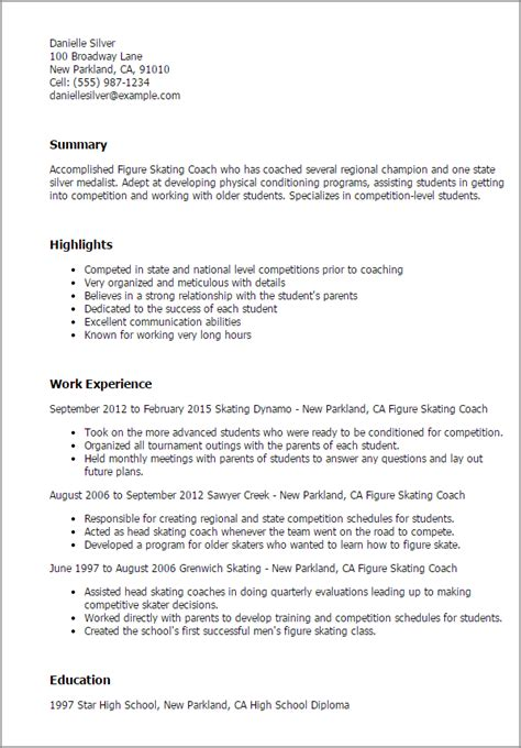 Figure Skating Coach Sle Resume figure skating coach resume template best design tips myperfectresume
