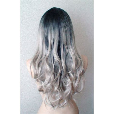 hairstyles without dying roots silver ombre wig dip dye dark roots silver hair wig long