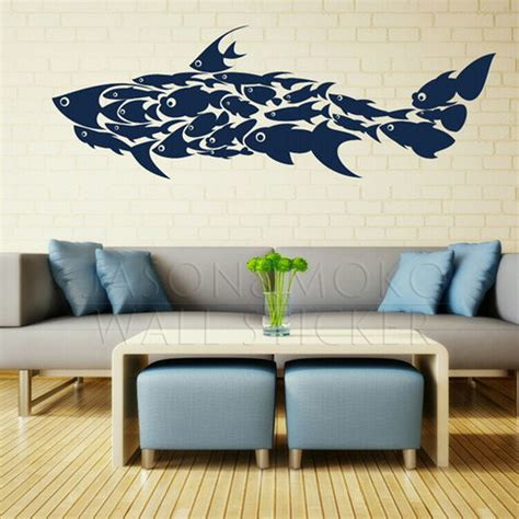interior wall stickers large shark fish decals interior wall stickers mural wallpaper children s room