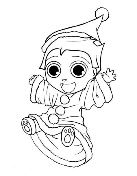 elf size coloring page cute little elf chirstmas coloring page christmas