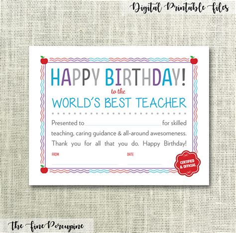 printable birthday cards teacher happy birthday teacher printable certificate world s
