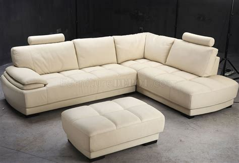 beige leather modern sectional sofa w ottoman