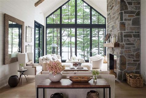 dreamy rustic modern lake house with sweeping vistas of