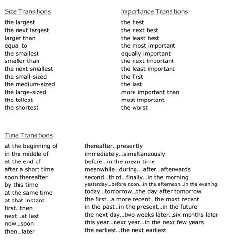 Transition Words For An Essay by Transition Words For A Descriptive Essay
