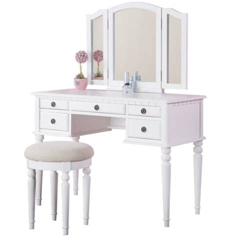 vanity bench set poundex bobkona st croix vanity set with stool in white