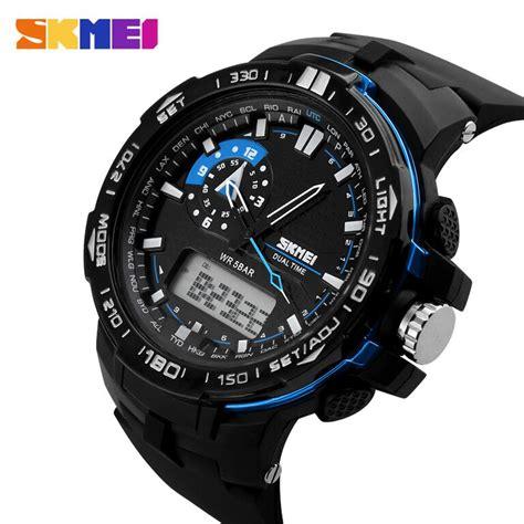 jam tangan casio skmei pria skmei jam tangan sport pria ad1081 black blue