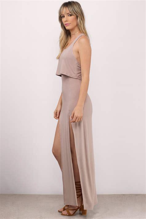 Slit Dress Maxi Dress Wanita Gitta Slit taupe maxi dress front slits dress 64 00