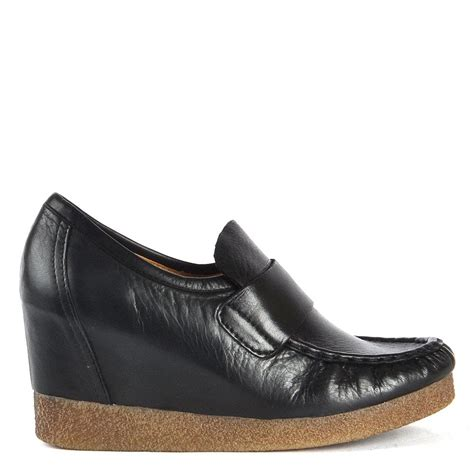 loafer wedge arte fact aramus black leather wedge loafer
