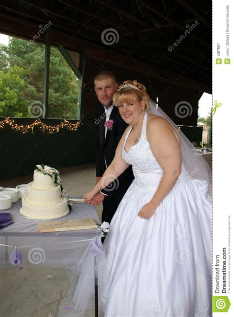 Bride And Groom Cutting Wedding Cake Royalty Free Stock Photography   Image: 1257557