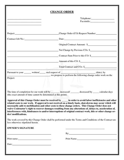 construction change order form template pin contractor change order on