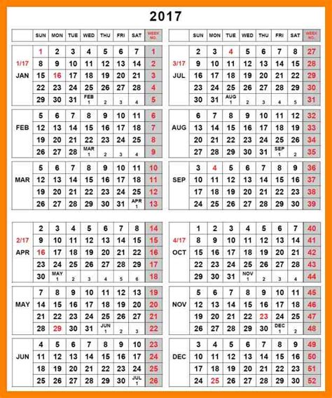 Calendar By Week 2017 2017 Numbers Images Search