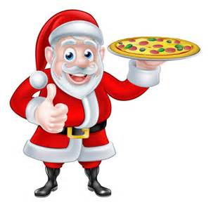christmas pizza with santa chef vector vector christmas