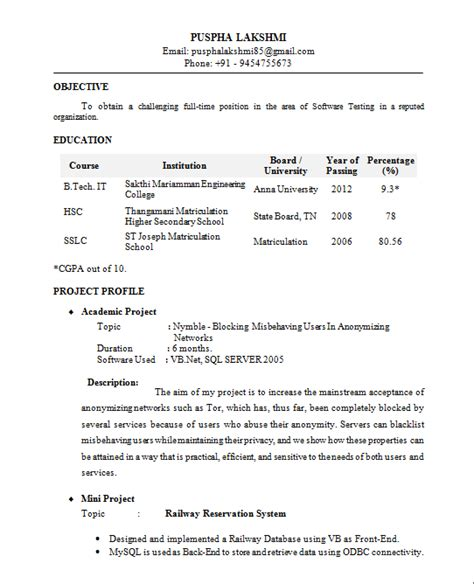 Resume Format For Banking For Freshers Fresher Resume Format It Professional