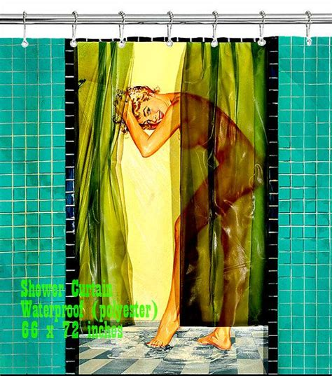 pin up shower curtains retro pin up girl shower curtain custom design