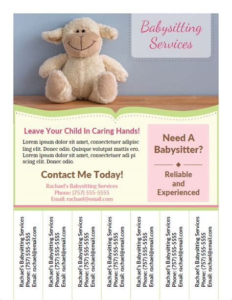 babysitting flyers printable babysitting flyers