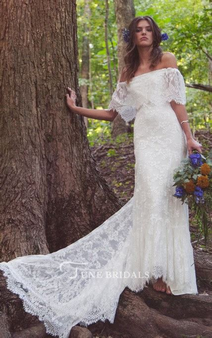 Shoulder Lace Wedding Dress boho shoulder sheath scalloped lace wedding dress with