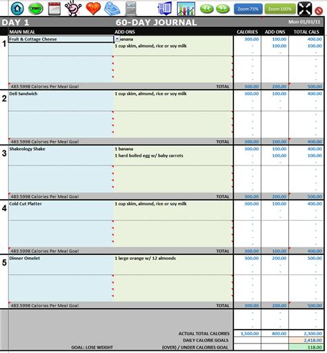 Excel Workout Manager For Use With Chalean Extreme Food Diary Template Excel