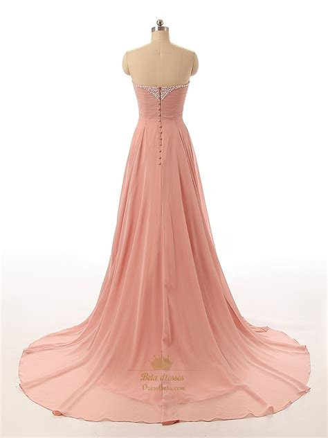 strapless beaded prom dress ruddy pink chiffon strapless sweetheart beaded neckline