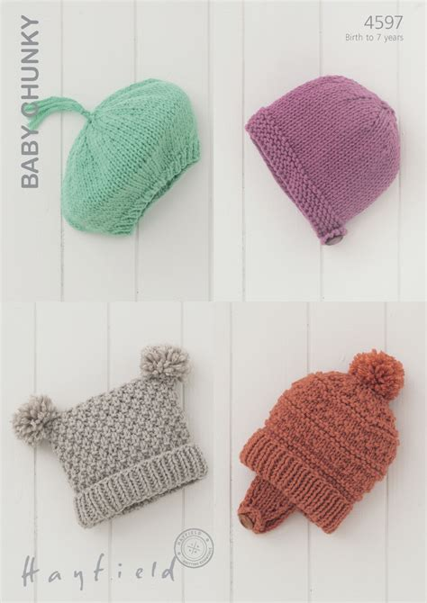 tea bag hat knitting pattern 4597 hayfield baby chunky beret helmet tea bag hat