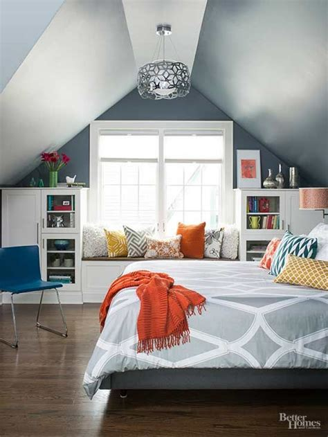 how to decorate a bedroom with slanted ceilings window seats attic remodel and large windows on pinterest