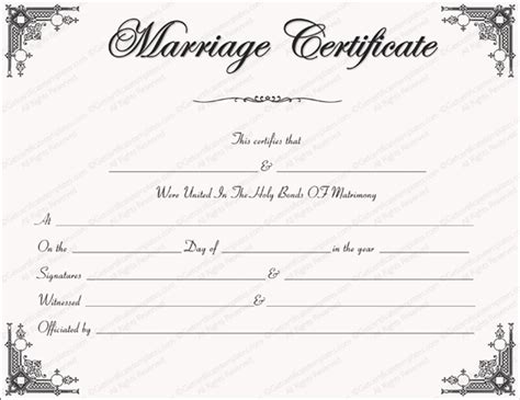printable marriage certificate template marriage certificate format 7 blank editable formats