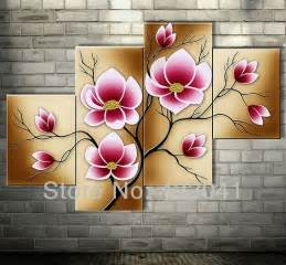 Bright pink abstract flower oil paintings large canvas art cheap