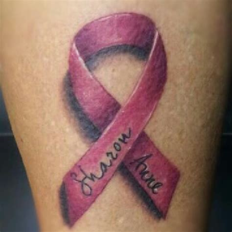 breast cancer ribbon and cross tattoo collection of 25 breast cancer ribbon on leg