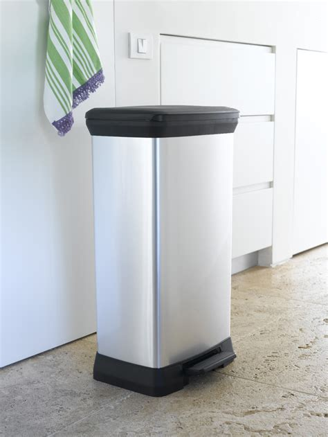 Kitchen Bin 50l by New Curver Deco Waste Bin 50l Silver For Kitchen With Step