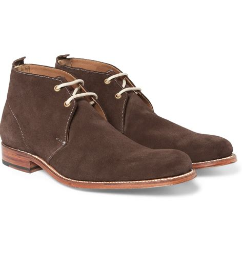 suede desert boots grenson silas suede desert boots in brown for lyst