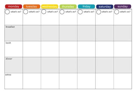 4 week schedule template more free printable menu plans weekly meals menu