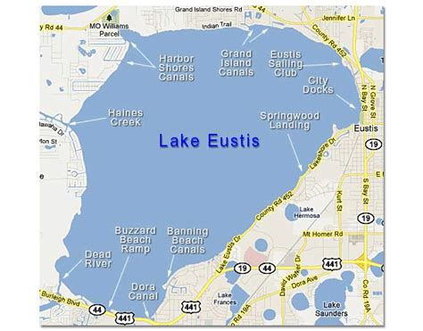 map of lake eustis in the harris chain of lakes central